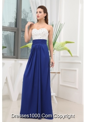 Beading Sweetheart Long Blue Prom Dress