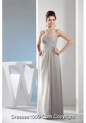 Cheap Column Sweetheart Ruching Gray long bridesmaid Dress in 2013