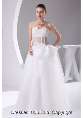 Elegant Column Strapless Lace-up Beading 2013 Wedding Dress