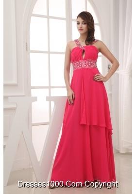 Elegant Empire V-neck Long Prom Dress For 2013 Custom Made