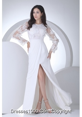 Empire Long Sleeves Scoop Appliques High Slit Wedding Dress