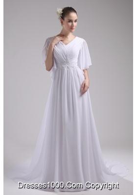 Empire V-neck Ruching Half Sleeves Cheap Wedding Dress