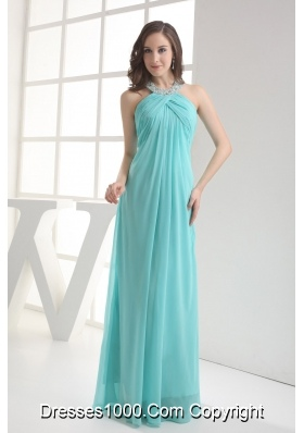 Halter Top Aqua Blue Empire Beading Prom Dress