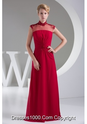 High Neck Appliques Column Empire Long Prom Dress