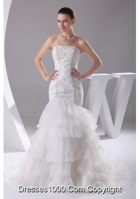 Mermaid Beading Ruffled Layers Brush Train Wedding Dress