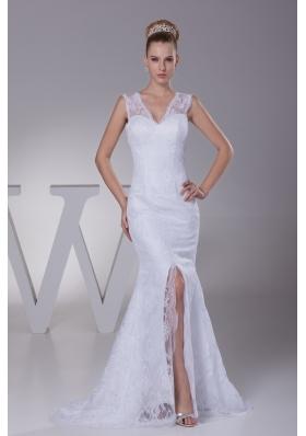 Mermaid V-neck High Slit Brush Train Wedding Dress