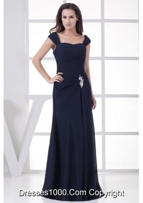 Navy Blue Straps Column Appliques Long Prom Dress