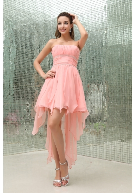 Strapless Asymmetrical Baby Pink Beading Prom Dress