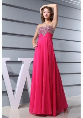 Sweetheart  long Hot Pink Beading Formal Evening Column Prom Dress