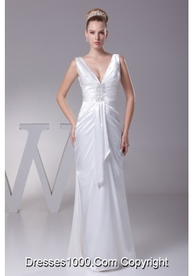V-neck Beading Long Wedding Dress With Column