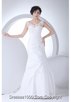 V-neck Column Appliques Ruching Brush Train Wedding Dress