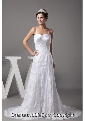 A-line Spaghetti Straps Lace Court Train Wedding Dress