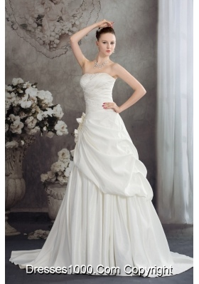 A-line Strapless Hand Made Flowers Brush Tarin Wedding Dress