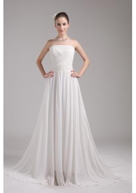 A-line Strapless Ruching Chiffon Wedding Dress