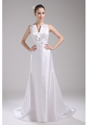 A-line V-neck Hand Made Flower Satin Wedding Dress