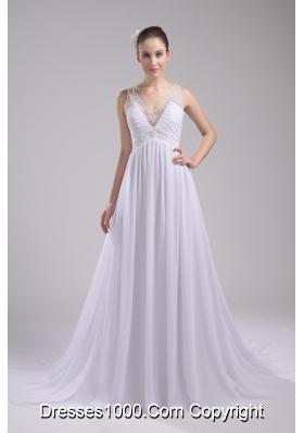 A-line V-neck Ruching Beading Wedding Dress