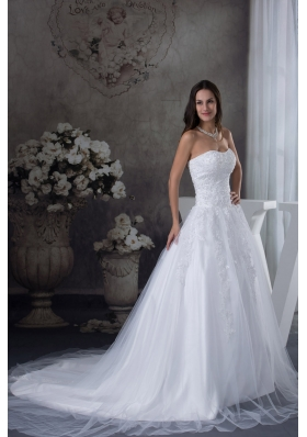 A-line Wedding Dress With Appliques Court Tarin Tulle