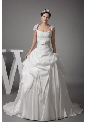 Appliques Ball Gown Cap Sleeves Square Neck Wedding Dress