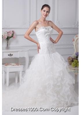 Appliques Court Train Mermaid Strapless Wedding Dress
