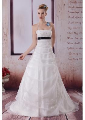 Appliques Halter Brush Train A-Line Wedding Dress in White