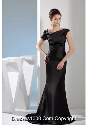 Appliques Mermaid Asymmetrical Black Mother of the Bride Dress