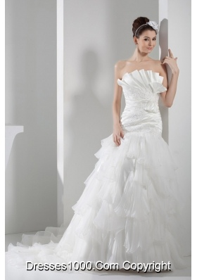 Appliques Pleats Strapless A-line Court Train Ruffled Layers Wedding Dress