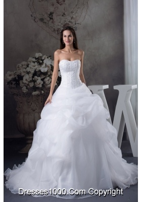 Ball Gown Pick-ups Beading Brush Train Wedding Dress