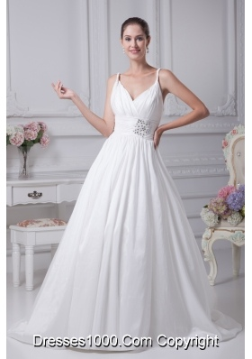 Beading Brush Train A-Line Straps Wedding Dress