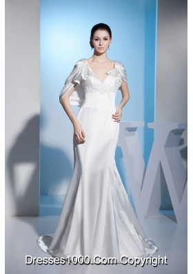Beading Mermaid V-neck Brush Train Wedding Dress with Zipper up