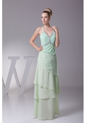 Beading V-neck Column Long Mother of Bride Dresses