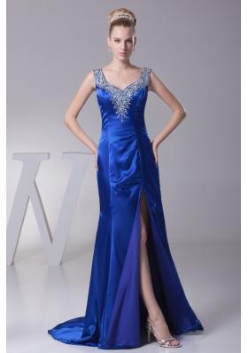 Beading V-neck High Slit Brush Train Prom Dress