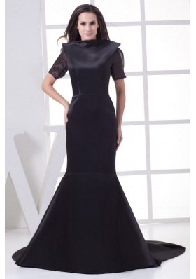 Black High-neck Short Sleeves Mermaid Chapel Train Mother of the Bride Dress