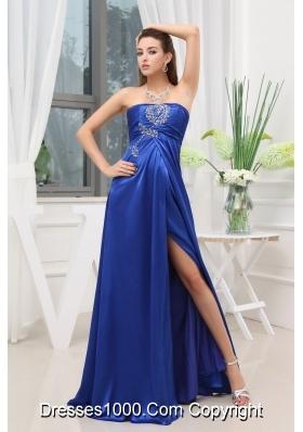Blue High Slit Beading Elastic Woven Satin Prom Dress
