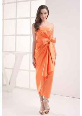 Column Orange Strapless Bow Satin Ruching Prom Dress