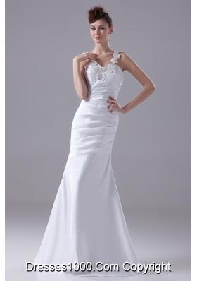 Column Straps Hand Made Flower Ruching Wedding Dress