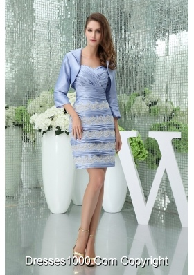 Column Sweetheart Short Lilac Ruffled Layers Appliques Mother of the Bride Dress