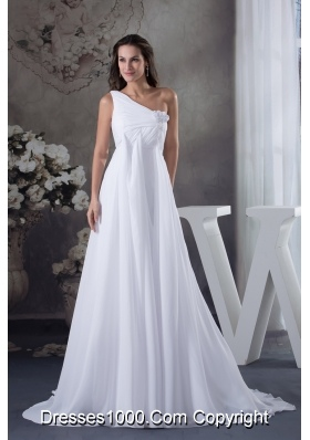 Hand Made Flowers Empire One Shoulder Court Train Wedding Dress