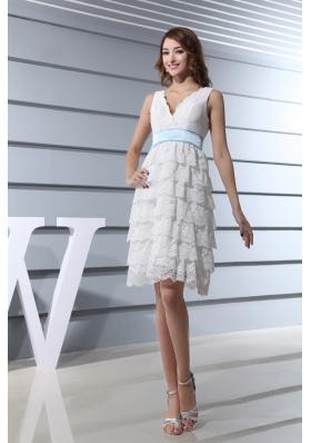 Lace V-neck Ruffled Layers Knee-length Wedding Dress