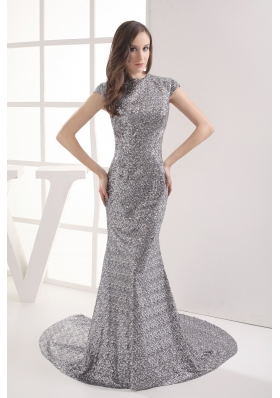 Mermaid Cap Sleeves Scoop Gray Sequin Prom Dress