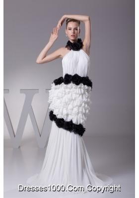Mermaid Halter Top Chiffon Hand Made Flowers Wedding Dress