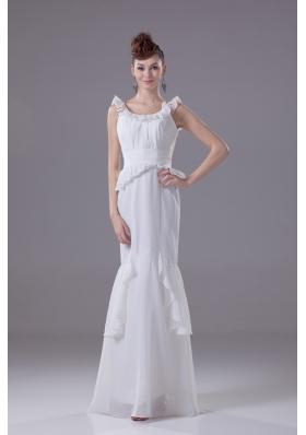 Mermaid Scoop Chiffon Ruching Wedding Dress