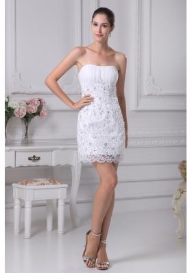 Mini-length Lace Strapless Column Wedding Dress