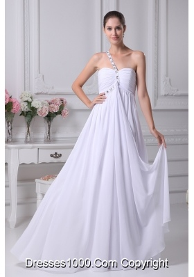 One Shoulder Beading Ruching Empire Long Prom Dress