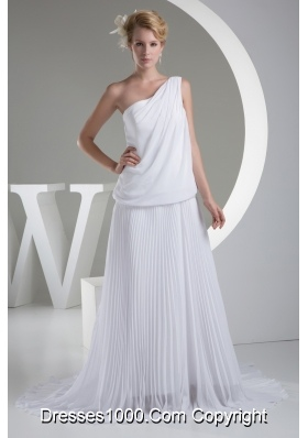 One Shoulder Pleats Brush Train A-line Wedding Dress