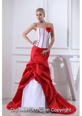 Pick-ups Mermaid Strapless Hand Made Flower Court Train Red Wedding Dress