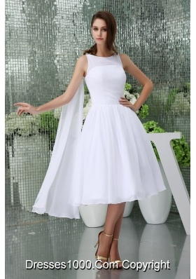 princess scoop neck short watteau train beach wedding dress