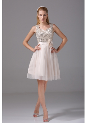 Princess Square Sash Tulle Sequins Prom Dress
