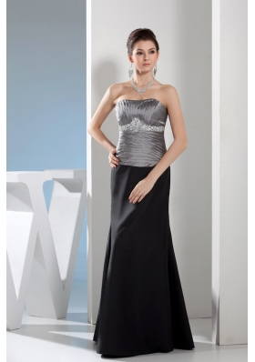 Rhinestone Column Strapless Long Black and Silver Mother of the Bride Dress
