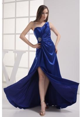 Royal Blue High Slit One Shoulder Ruching Beading Prom dress