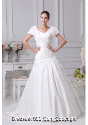 Ruching A-Line V-Neck Court Train Wedding Dress with Short Sleeves